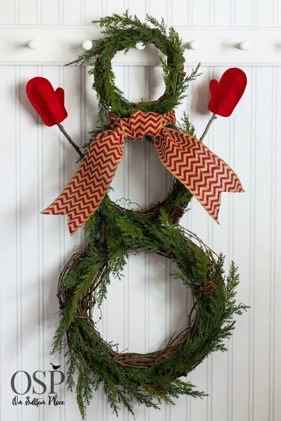 The holiday spirit doesn't need to end after Christmas. Showcase your winter spirit with a DIY snowman wreath. On Sutton Place shares her easy directions and photos for how to craft your snowman wreath to hang indoors or outdoors. Be sure to finalize it with your own style of burlap chevron ribbon for the scarf.