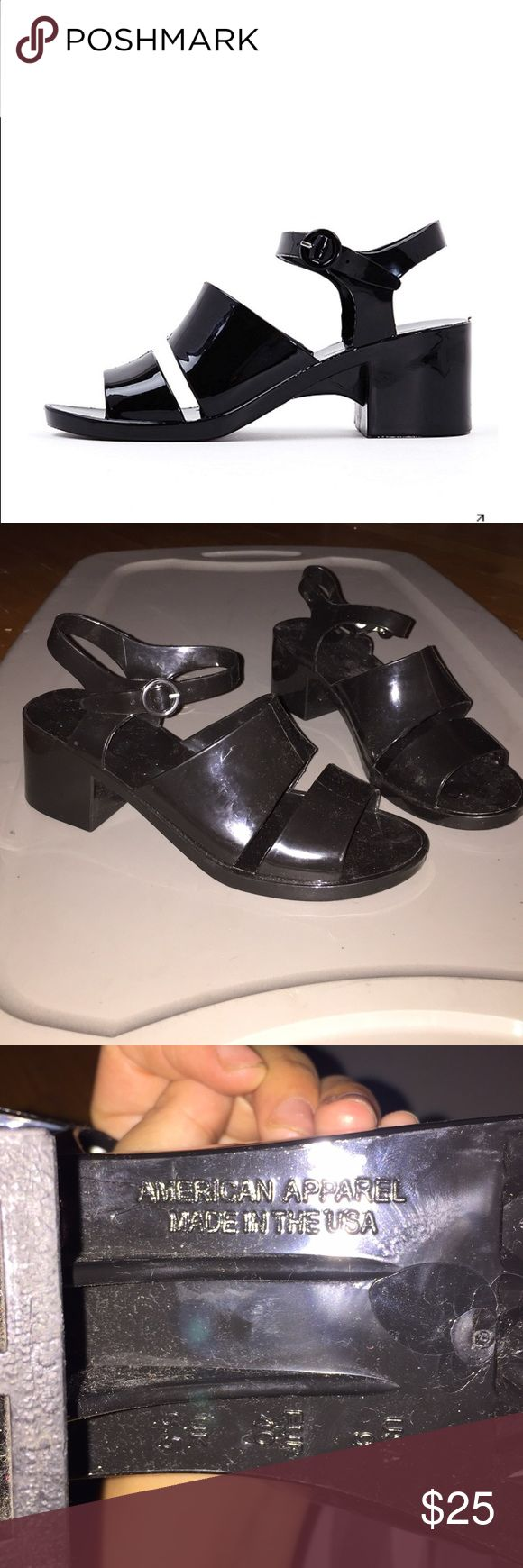 Black jelly sandals american apparel - American Apparel Black Jelly Heels Sold Out On The Aa Website Only Worn Once