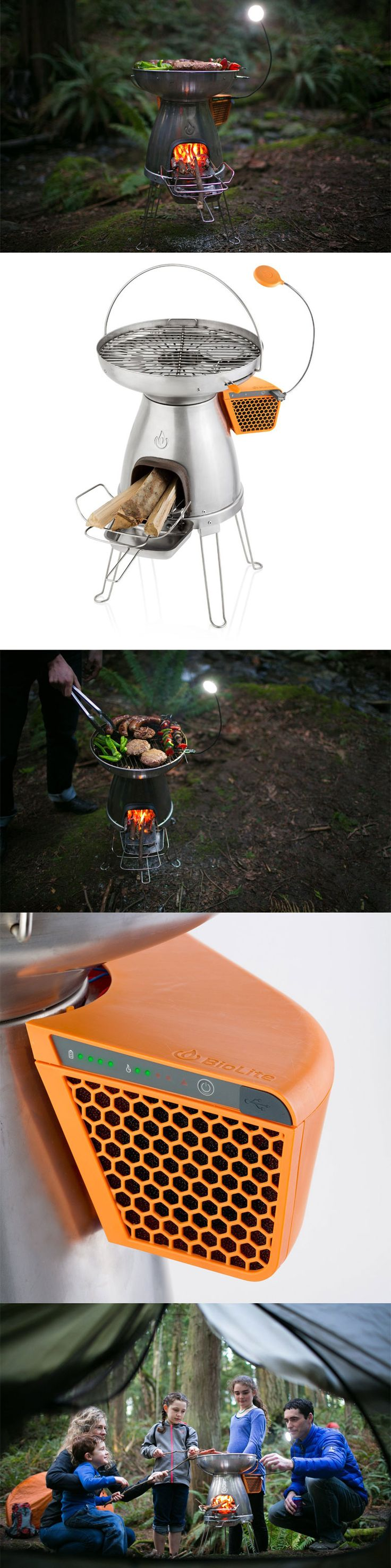 "BioLite – BaseCamp (Burn things to charge your phone!)::  The BioLite BaseCamp is an innovative, off grid energy solution that makes dinner at the same time!  Using small pieces of wood for fuel, you can prepare authentic, wood fired dishes and keep a charge on your USB devices at the same time.  This ""Basecamp"" by Biolite lights, cooks, heats and fires smarter than any campfire before it! www.gonnawannagetit.com"
