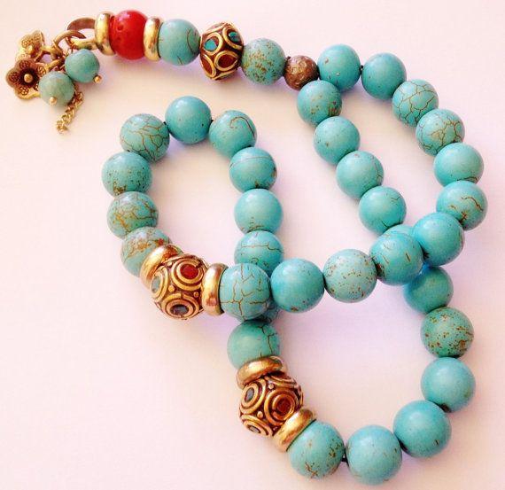 Turkish Islamic 33 Prayer Beads, Tesbih, Tasbih, Misbaha, Sufi, Worry Beads, relaxation, Turquoise Howlite, coral on Etsy, $40.00
