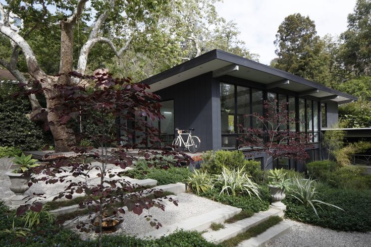 Mid century home in black, renovated house + garden, landscape by Mark Tessier Landscape Architect