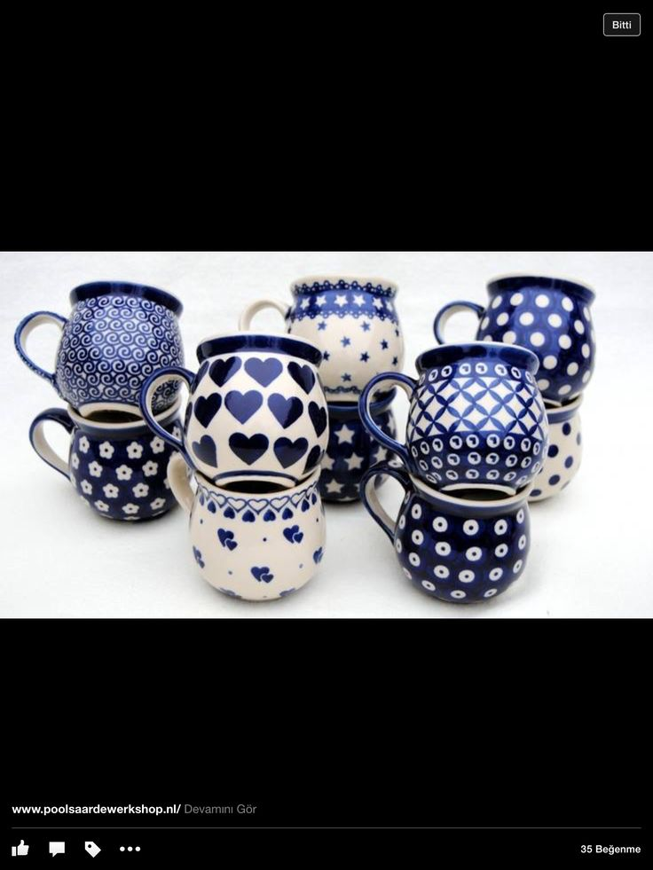 I'd like this blue collection of tea cups.
