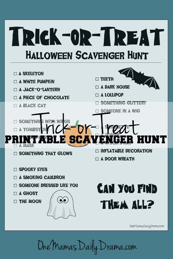 free printable halloween trick or treat scavenger hunt for kids one mamas daily