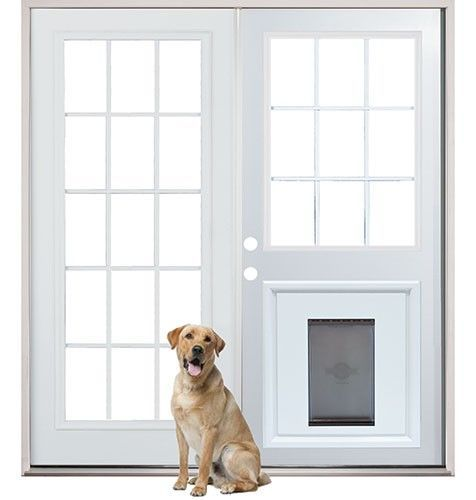 Cool. So much nicer than sliding glass doors.--Patio French Back Doors with Pre-Installed Pet Doggy Door #DogDoor