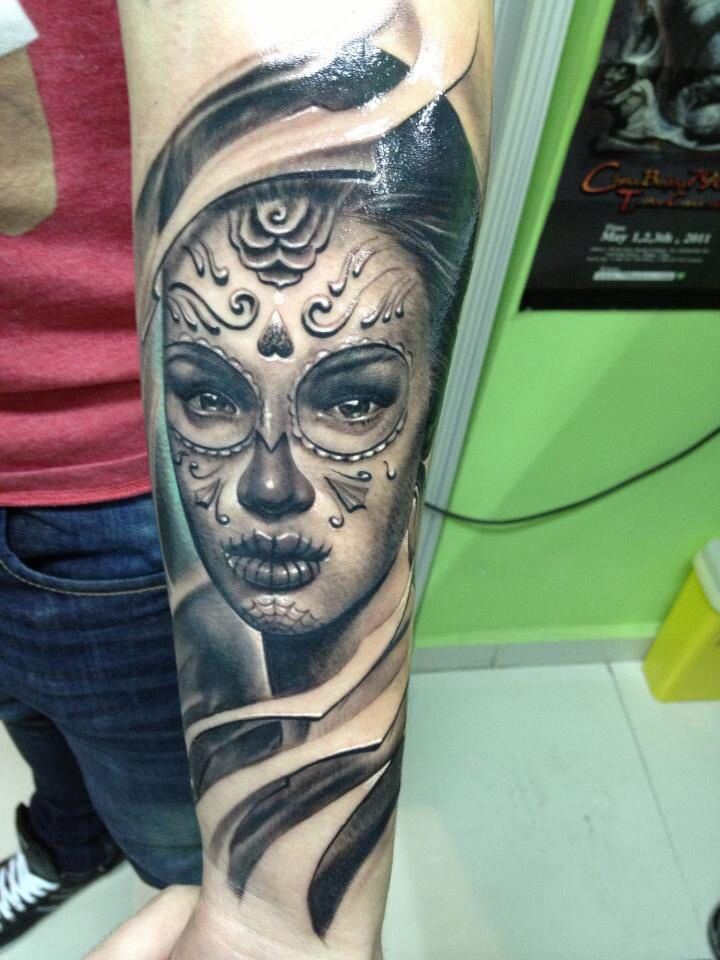 93 best day of the dead tattoos images on pinterest for Tattoo on forearm pain