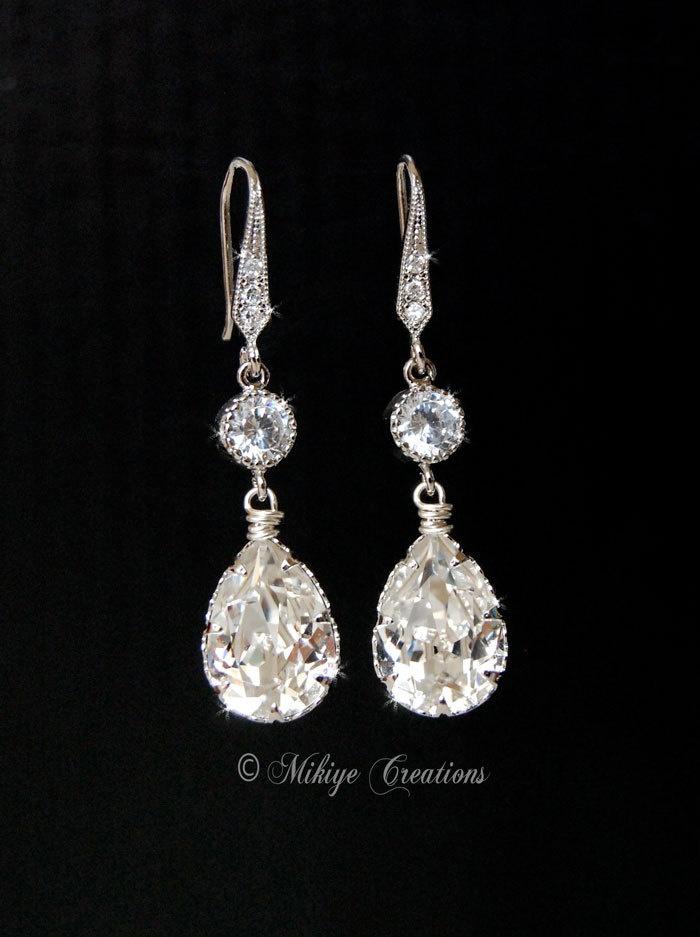 Bridal Chandelier Earrings, Wedding Accessories, Wedding Jewelry, Swarovski Crystal Cubic Zirconia Drop Earrings - E112. $44.00, via Etsy.