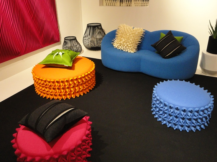 Anne Kyyro Quinn pouffes at the Wool House Exhibition 2013