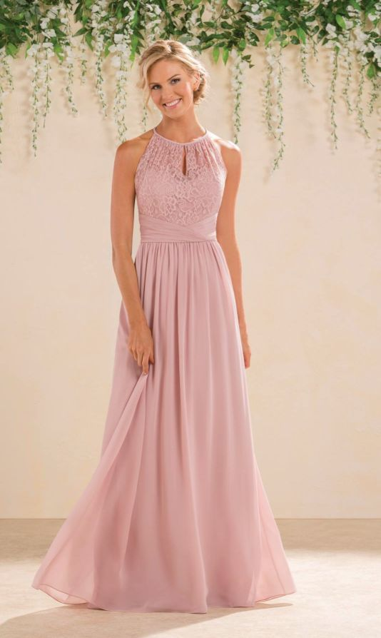 Featured Dress: Jasmine Bridal; Pink high neck A-line bridesmaid dress.