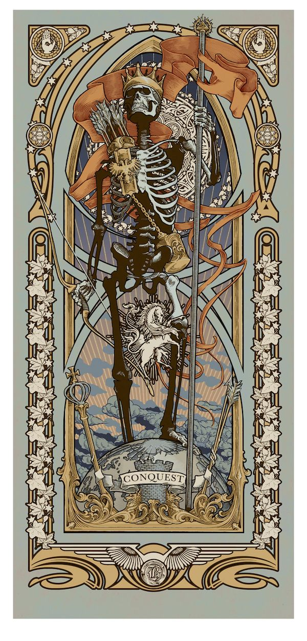 "Ryan Begley will release this stunning new art print set tomorrow. The ""Reapers of the Apocalypse"" includes four 12"" x 24"" giclee prints (each with an edition o"