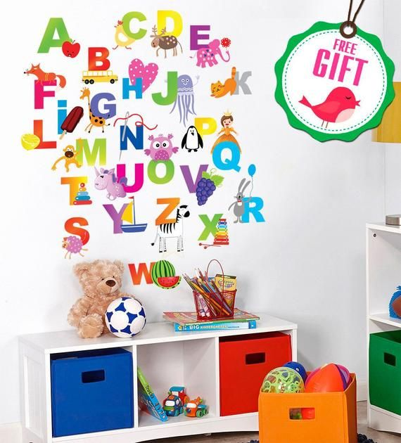 Small Sheet of ABC//NUMBERS Kids Bedroom//Room Wall//Cupboard Stickers Balloon Font