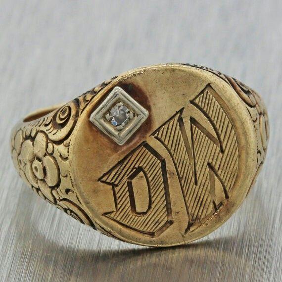 1890s antico vittoriano immobile 10K diamante oro giallo solido anello inciso