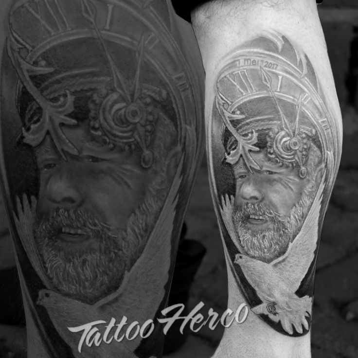 Portrait of an old man made by Tattoo Herco.