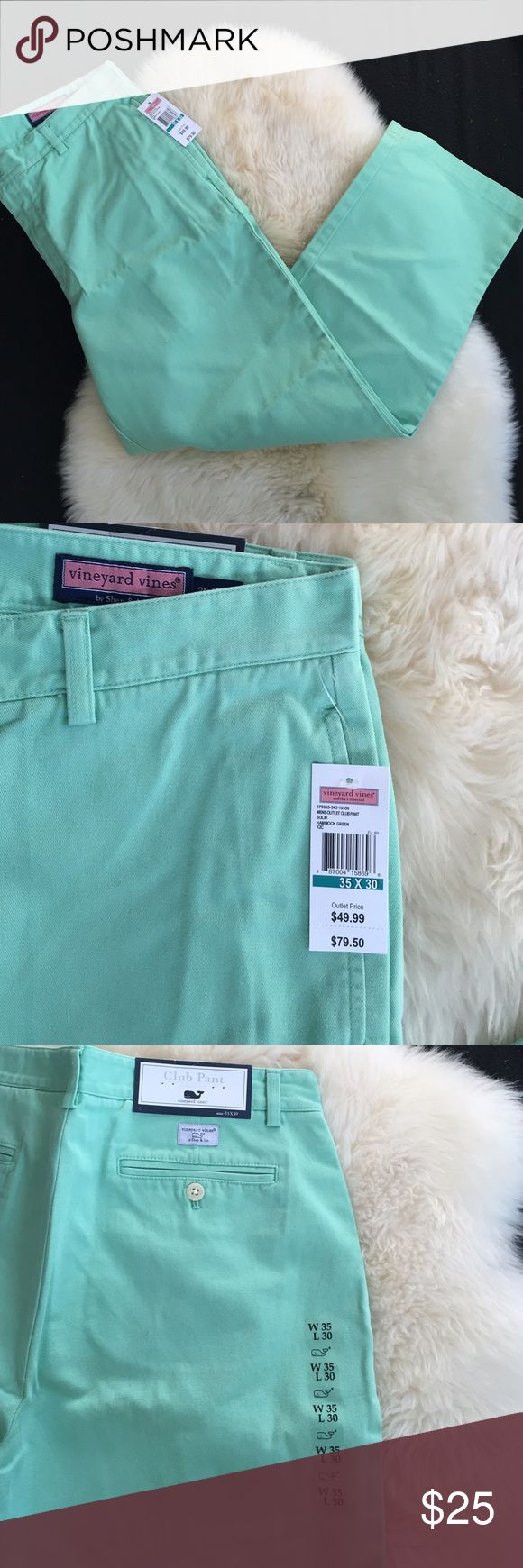 Vineyard Vines NWT men's club pant 35x30 mint NWT Vineyard Vines Men's club pant from the outlet in Hammock Green (mint..color is a little more green in person). Size 35x30 Vineyard Vines Pants Chinos & Khakis