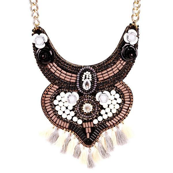 Naomy&ZP Beaded Tassel Maxi Necklace Gypsy Ethnic Bohemian Big Flower Collar Statement Necklace Women Fashion Jewelry Handmade