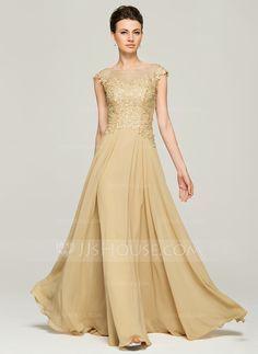 A-Linie/Princess-Linie U-Ausschnitt Bodenlang Chiffon Spitze Kleid für die Brautmutter mit Perlen verziert Pailletten (008062561) - JJsHouse