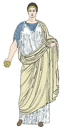 Doric chiton - made of wool. For women it was long with a brooch in the shoulder. Much fuller than the peplos. For men it was shorter. No sleeves. There was a cascade in one side and a cowl in the other. The hair was i a bun. Here she is wearing the doric chiton over the ionic chiton. And the himation everything.