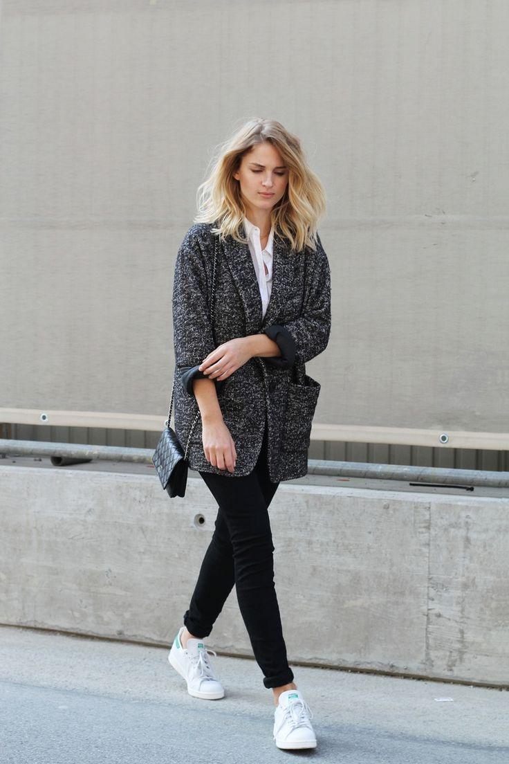 grey coat, black pants & sneakers #style #fashion