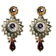 Purple Bollywood Ethnic Earrings
