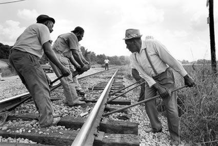 Gandy Dancers (railroad workers). Warren County, MS, August 1976.