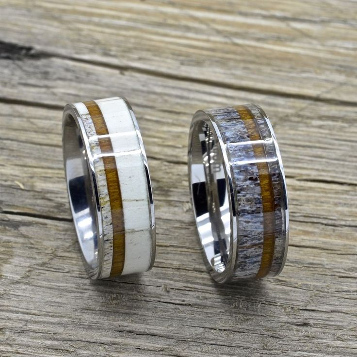 Titanium Deer Antler Ring and Koa Wood Inlay 8mm Comfort Fit Wedding Band 7-13 #RScott #Band