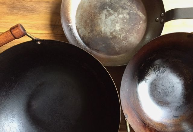 My collection of carbon steel pans. Some are new, some are old. All have great nonstick coatings that I've built. My carbon steel seasoning tips on VWK.