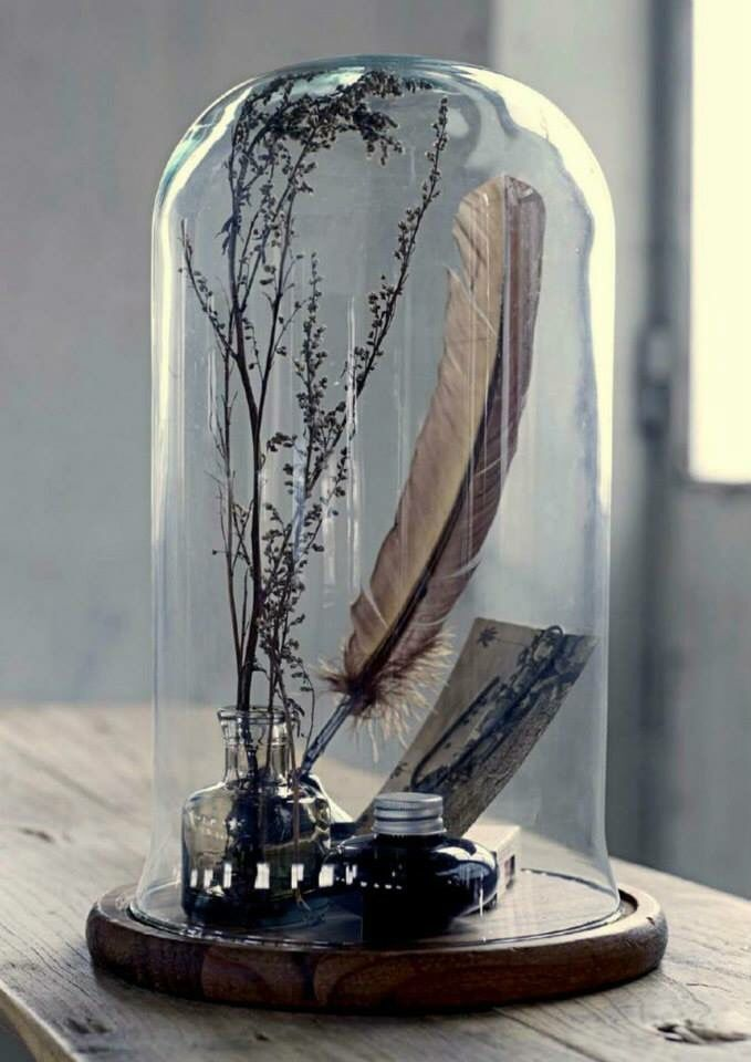 ink well and feather under glass