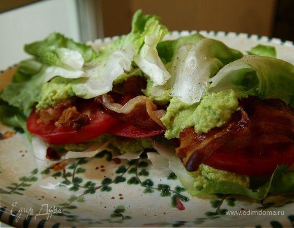 Сэндвич из листьев салата, помидоров и грудинки   Официальный сайт кулинарных рецептов Юлии Высоцкой