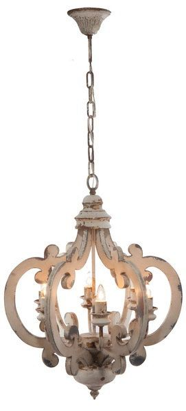 White Distressed Painted Wood 6 Light Chandelier Pendant French Country Shabby Chic