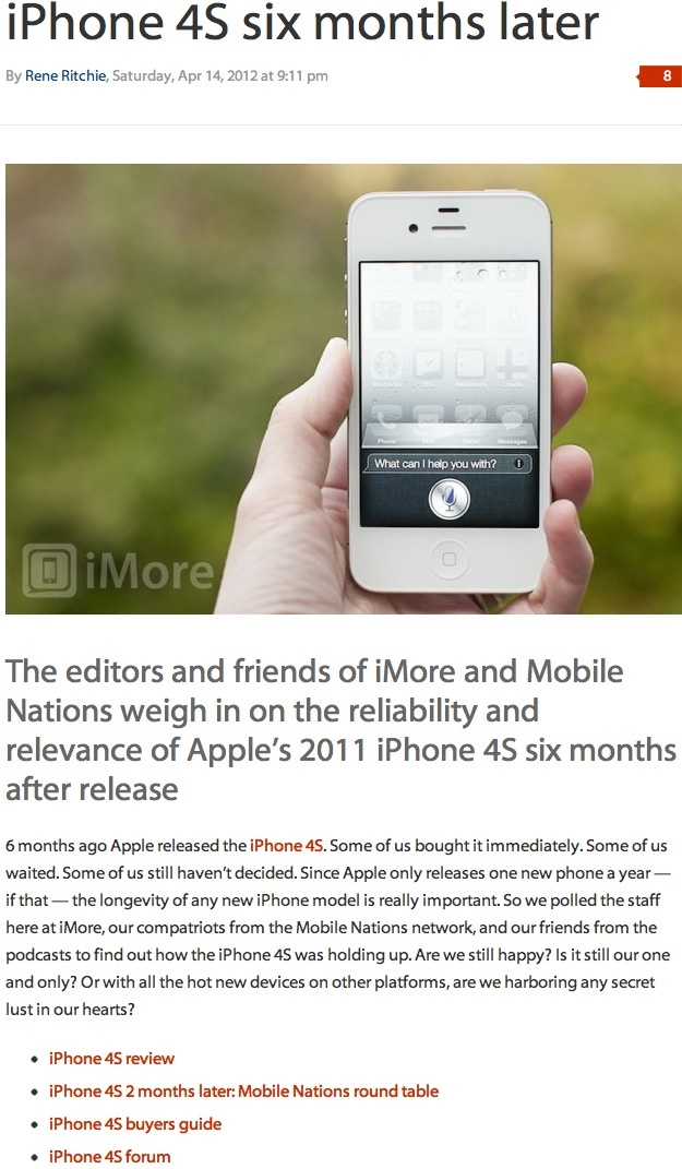 iPhone 4S six months later ➤ http://www.imore.com/