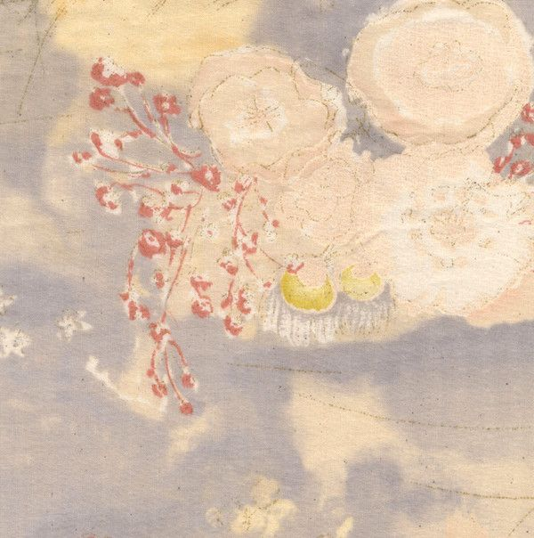 """Nani Iro Komorebi in """"Overjoyed"""" abstract floral in pale grays, beige, cotton double gauze fabric - Red Beauty Textiles"""