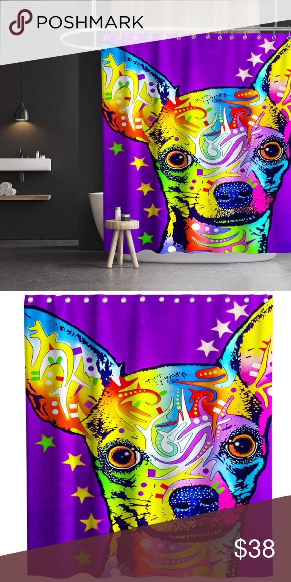 Nwt Chihuahua Shower Curtain With Hooks 70 X 70 In 2020