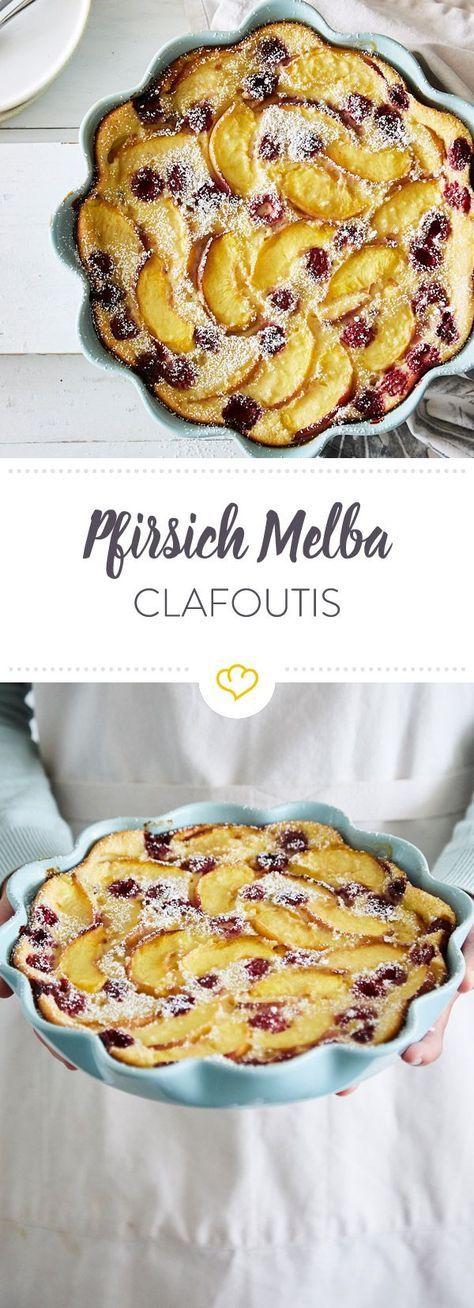 Luftiges Pfirsich-Melba-Clafoutis