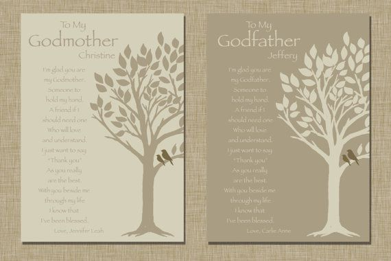 Godparents gift - Personalized gift for Godmother and Godfather - Gift from Godchild - Godparents Baptism Keepsake - Set of 2 (5x7) Prints on Etsy, $20.00