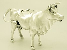 A fine, large and impressive antique Victorian English sterling silver cow creamer; an addition to our silver teaware collection  http://www.acsilver.co.uk/shop/pc/Sterling-Silver-Cow-Creamer-Antique-Victorian-163p4450.htm:
