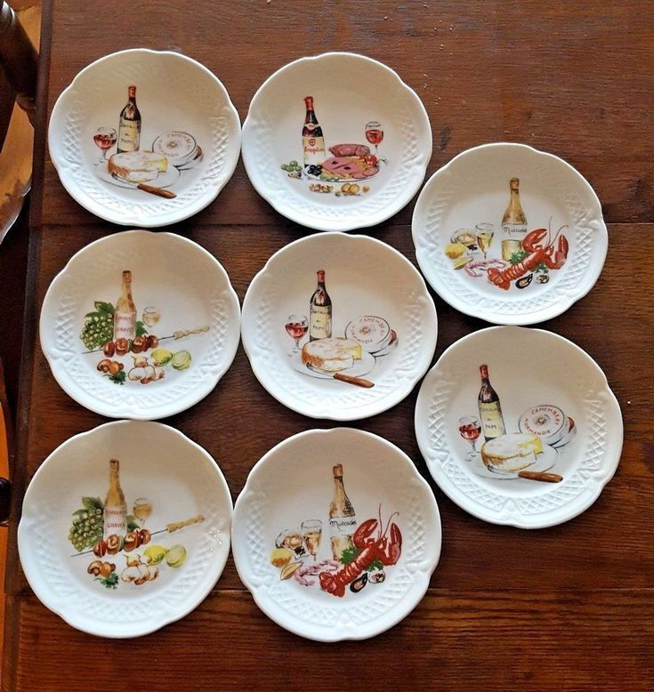 8 Tapas Canape Plates PHILIPPE DESHOULIERES and BERRY HAUTE PORCELAINE France