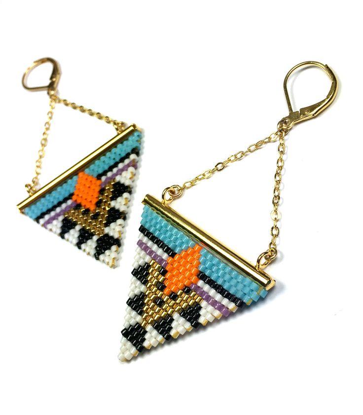 Boucles d'oreilles Géométriques chaîne laiton dorée à l'or fin et Miyuki Delicas…