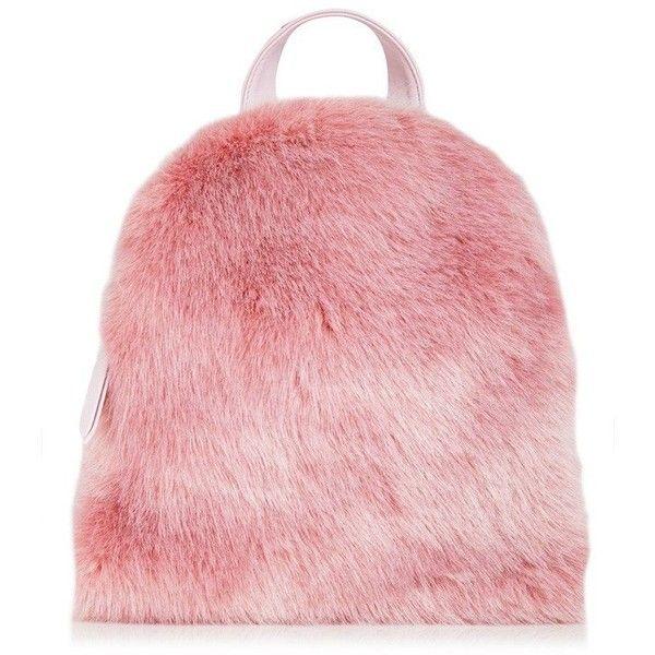 Charlie Pink Fur Mini Backpack ❤ liked on Polyvore featuring bags, backpacks, mini backpacks, fur bag, fur backpack, mini rucksack and mini bag