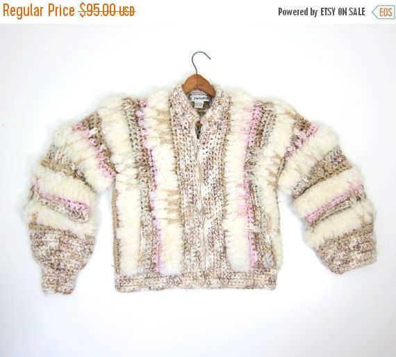 Super CHUNKY Knit Sweater Coat 80s Giant by dirtybirdiesvintage