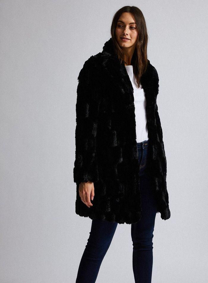 Black Squiggle Faux Fur Coat | Dorothy