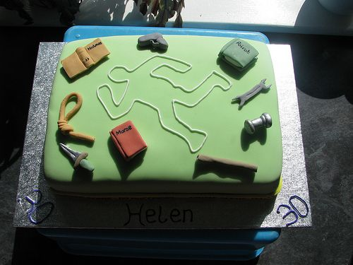 A crime themed cake