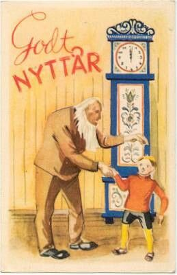 Nyttårskort - Gammel mann og gutt foran rosemalt gulvur Utg Børrehaug & Remen Serie E nr. 1644 stemplet 1952
