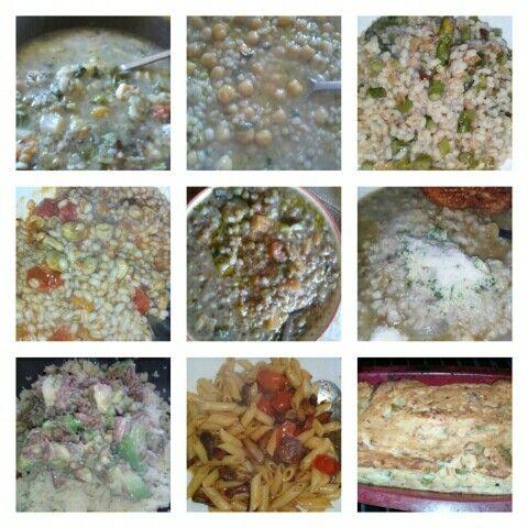 Minestrone e orzo, ceci e orzo, asparagi e orzo, fave e???  orzo!!! Cous Cous con avocado e tonno, pennette con funghi porcini, timballo di alici.......