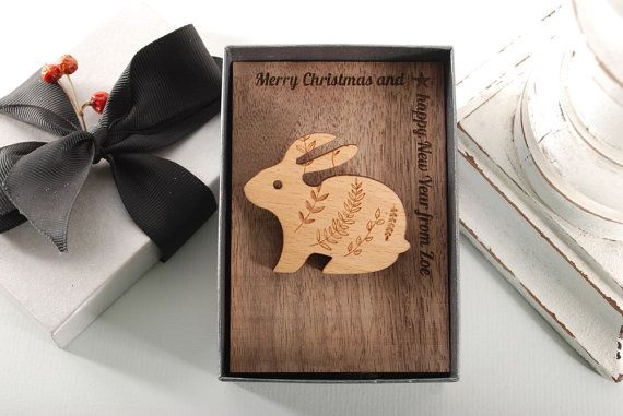 RABBIT  BROOCH  ready to give gift box solid Beech by MoodForWood