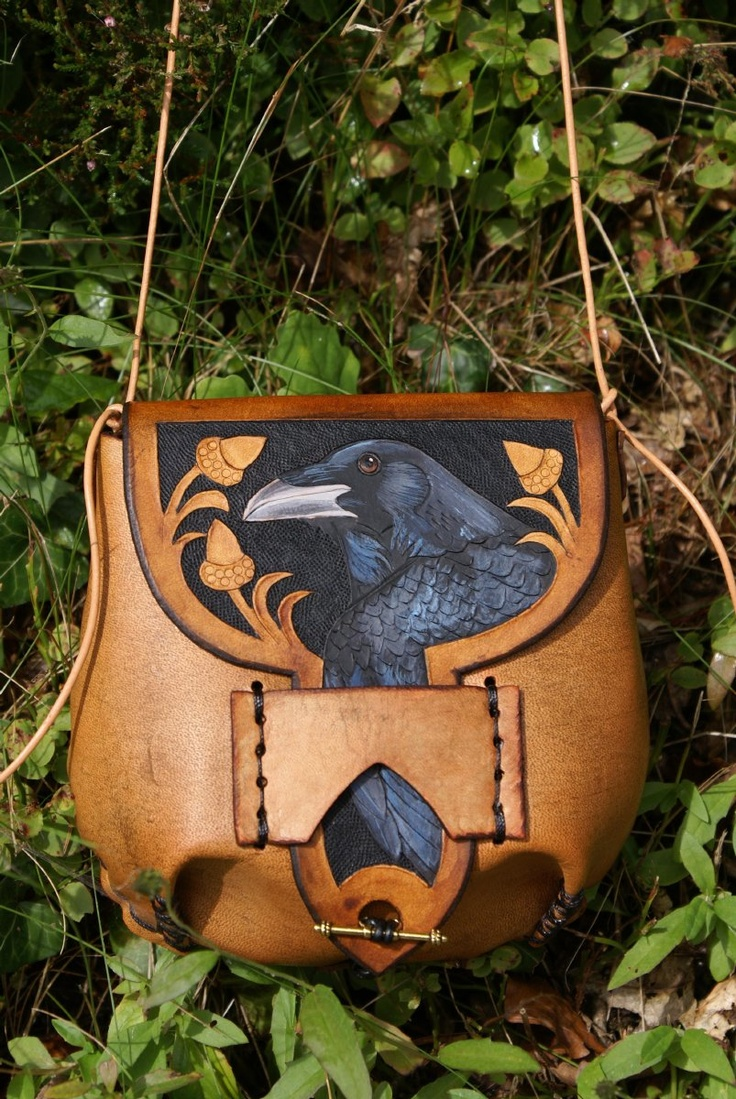 versatile combi belt pouch / bag with hand carved and coloured raven design - www.skyravenwolf.com