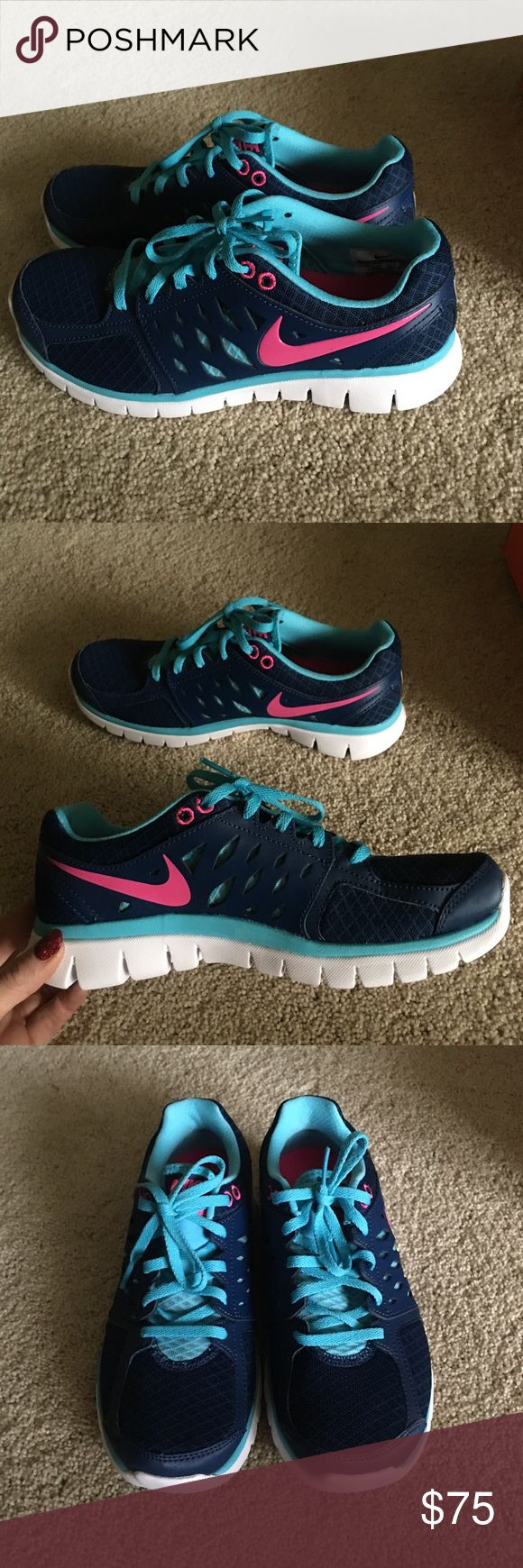 New Nike flex navy, blue and pink shoes 7.5 Brand new Nike flex run blue and pink tennis athletic shoes in 7.5. Nike Shoes Athletic Shoes