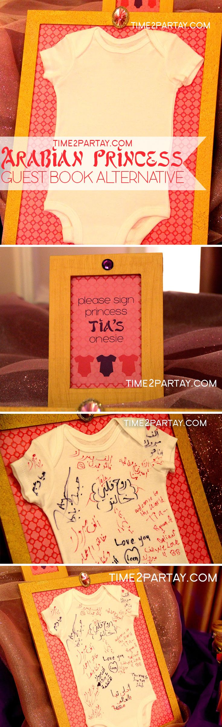 Arabian Princess Tia Has Arrived {A Welcome Baby Party}. A onesie autograph…