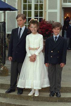 Boy in first communion dress