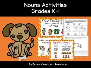 This pack includes nouns wall poster (definition, singular and plural nouns), nouns flash cards and worksheets. This resource can be used to introduce students to the concept of nouns and also to reinforce learning. You may also like: Preposition Activities Grades K-1 Verbs Activities (K-1)