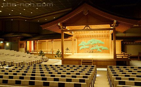 An indoor Noh theater in Tokyo. Note the relative size as compared to the larger Kabuki stages.  also seating locations