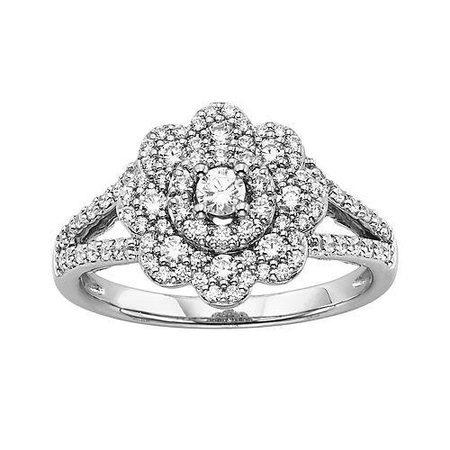 Simply Vera Vera Wang Diamond Flower Engagement Ring In K